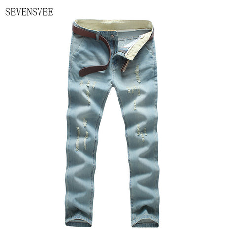 2016 fahion Ripped Denim Pant Knee Hole Zipper Biker Jeans Men Slim Skinny Destroyed Torn Jean Pants fear of god jeans CHOLYL