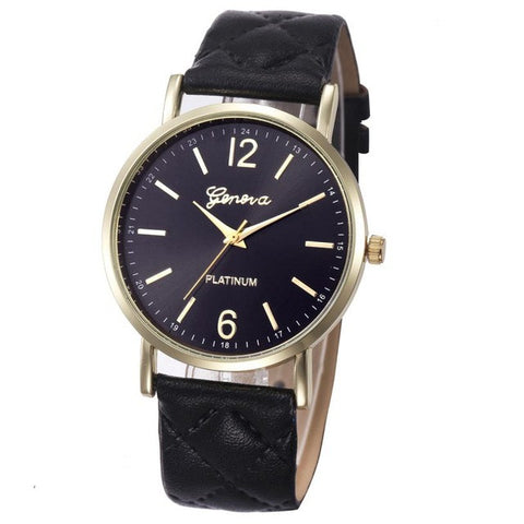 12 Colors Fashion Women Genvivia Roman Watch Lady Leather Band Analog Quartz Wrist Watch Women Relogio Feminino