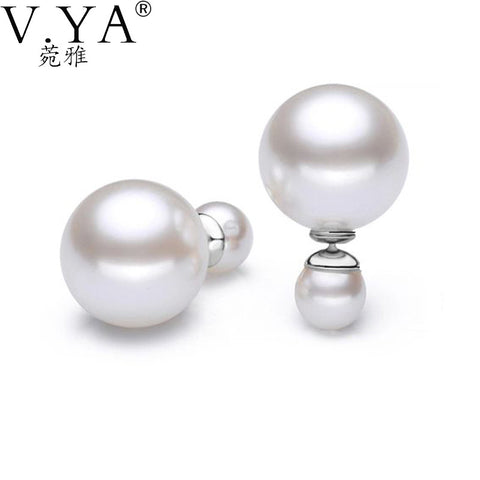 100% Genuine Real 925 Sterling Silver earrings double Simulated pearl stud earring Fine pendientes women Jewelry free shipping