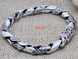 100% Real 925 Sterling Silver Bracelets for Men Retro Black Design Solid Silver Jewelry Genuine S925 Silver Men Bracelet HYB22