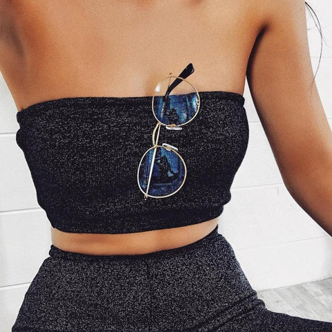 2017 New Arrival Women Sequins Blouse Sexy Strapless Crop Top Sleeveless Split 2 Piece Set Casual Short Pants Casual Clothes