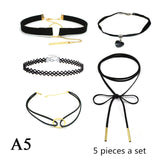 ZOEBER 15 Pcs a set Choker Necklace Black Lace Leather Velvet strip woman Collar Jewelry Neck accessories chokers colar kolye
