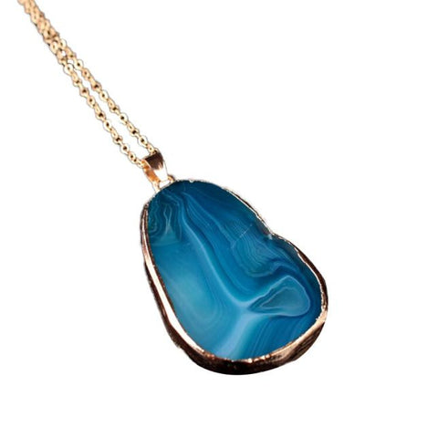1PC Round Natural Agate Stone Necklace Women Men Jewelry Trendy Necklaces,BU