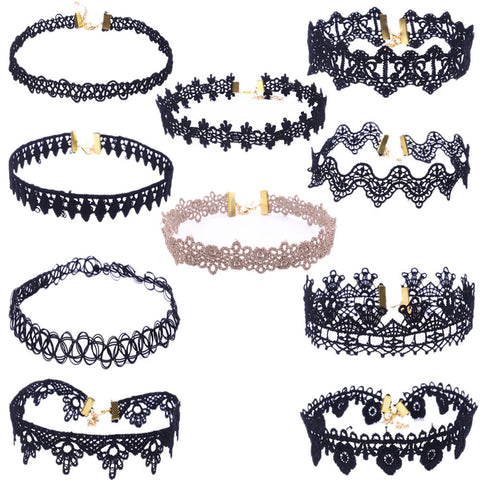 10 Pieces Choker Necklace Set Stretch Velvet Classic Gothic Tattoo Lace Choker