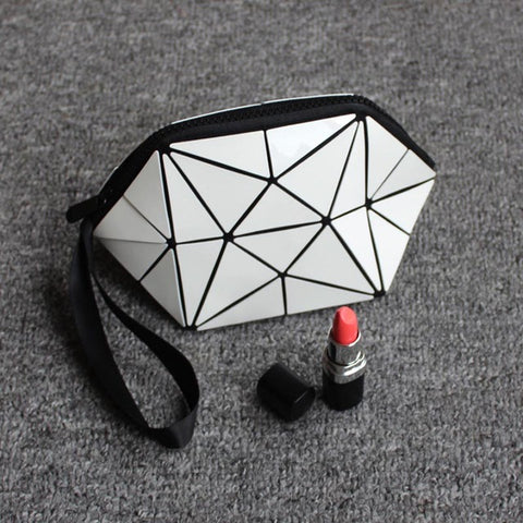 2017 New Geometric Zipper Cosmetic Bag Women Luminous Makeup Bag Ladies Cosmetics Organizer Folding Travel Make Up Bag wholesale