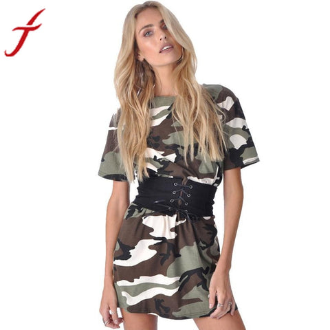 2017 New Fashion Women Summer Dress Short Sleeve Camouflage Print Plus Size Woman Vestidos Party Short Mini Dress With Belt