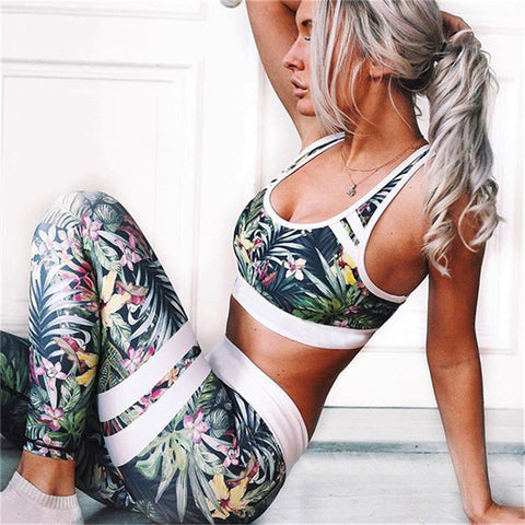 2017 New Women Floral Printed Leggings Skinny Pants Two Piece Set Tracksuit Brand Fitness Clothing Tank Top Sexy Suits for Women