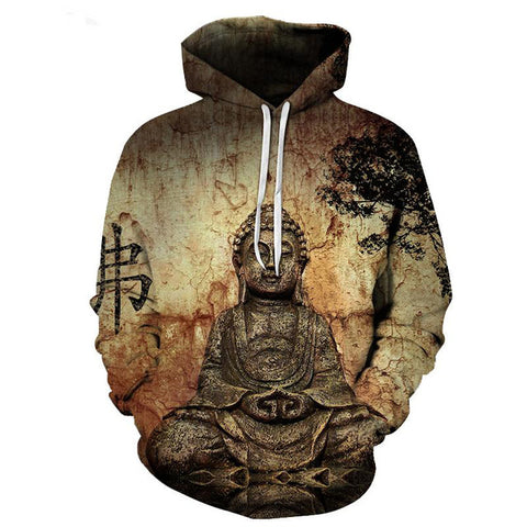 2017 new fashion Cool sweatshirt Hoodies Men women 3D print Buddha statue Tee hot Style Streetwear Long sleeve clothes