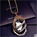 Free shipping! 2017 crystal new fashion necklaces women's simple sexy wild long chain accessories geometric pendant jewelry
