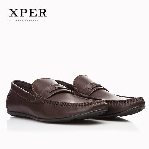 2017 New Brands XPER Men Shoes Hand Made Breathable Soft Men Flats Shoes Slip-on Buckle Men Loafers Brown Big Size CE86812BN