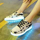 2017 Autumn Women Man Luminous Sneakers for Adult  with USB Charging Female Light LED Casual Shoes