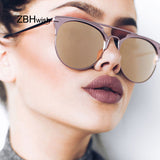 Retro Mirror Cat Eye Sunglasses Women Brand Designer Luxury Metal Frame Sun Glasses Female Ladies Oculos Lunette De Soleil Sol
