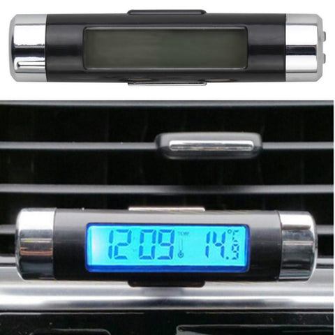 2 in1  LCD Clip-on Blue  Backlight Digital Automotive Thermometer Car Clock Calendar Auto Digital Car Clock Luminous Black