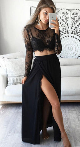 2 Pcs Sexy Women Black Long Sleeve Lace Short Tops Shirts Party Evening Long Skirts Sexy Ladies Party Set