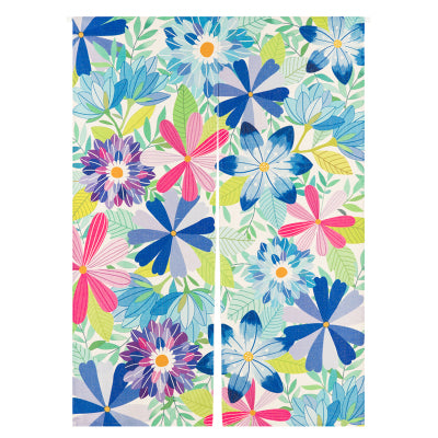Blue Floral Doorway Curtain