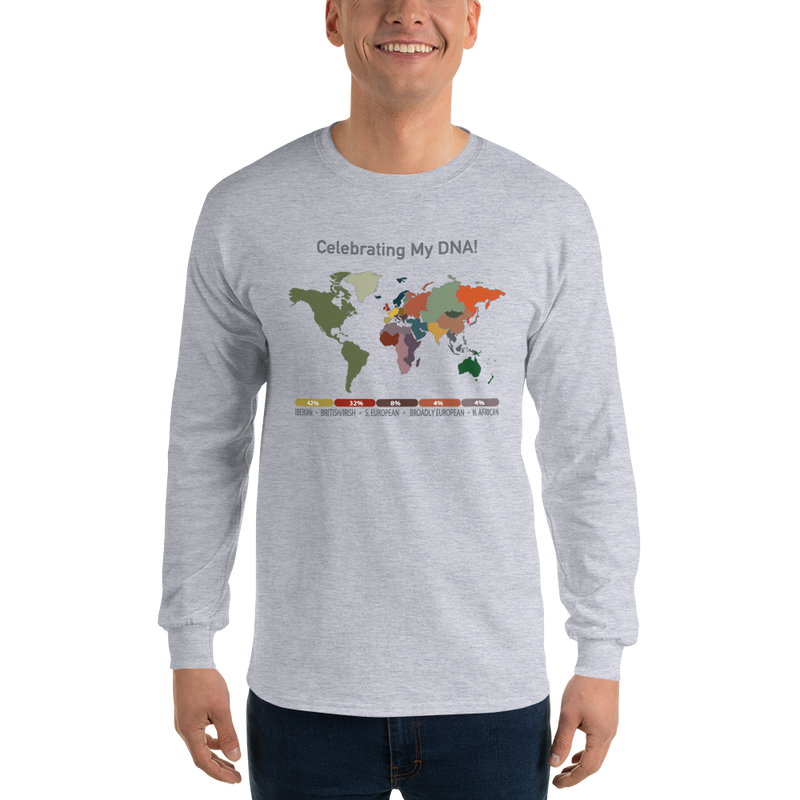 Long Sleeve DNA Map T-shirt / Unisex / Ancestry Gift