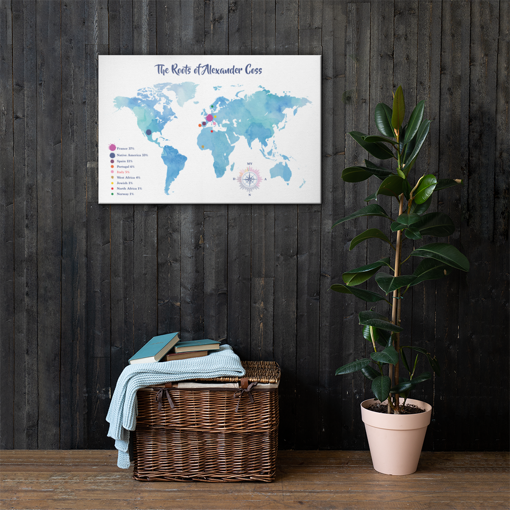 Canvas Personalized Ancestry DNA Map w Zodiac Sign / Wall Art Canvas / Watercolor Blue / Various Sizes