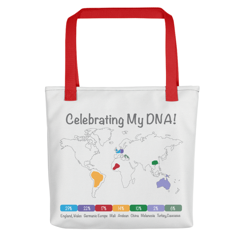 Personalized DNA Results Tote Bag / Red Handles