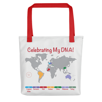 TEST ONLY Personalized DNA Results Tote Bag / Red Handles