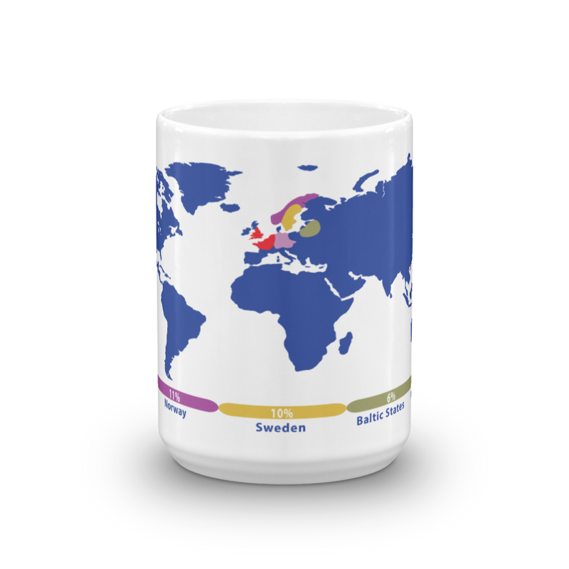 Personalized DNA Mug /  Ancestry Gift / Blue World Map