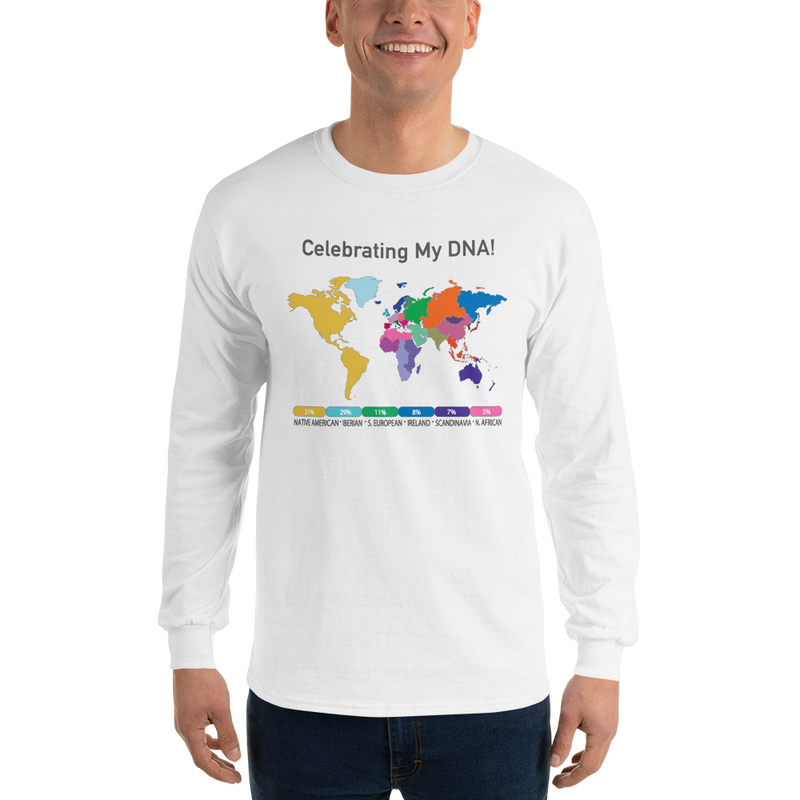 Lighter Color Long Sleeve DNA Map T-shirt / Unisex /Ancestry Gift