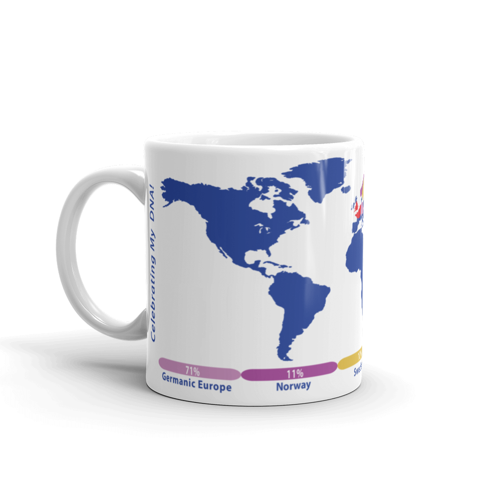 Personalized DNA World Map Mug /  Solid Background Color