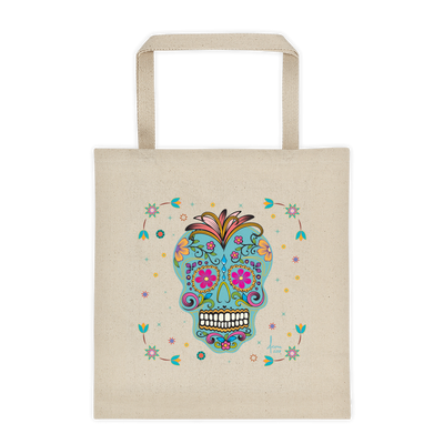 Day of the Dead Tote / Natural Turquoise