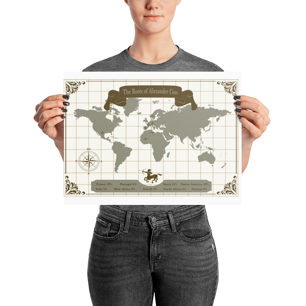 II. Personalized Ancestry DNA Map w Zodiac Sign / Wall Art Poster Print / Various Sizes