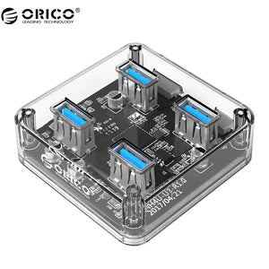 ORICO 4 Ports Transparent USB 3.0 HUB With External Power Supply