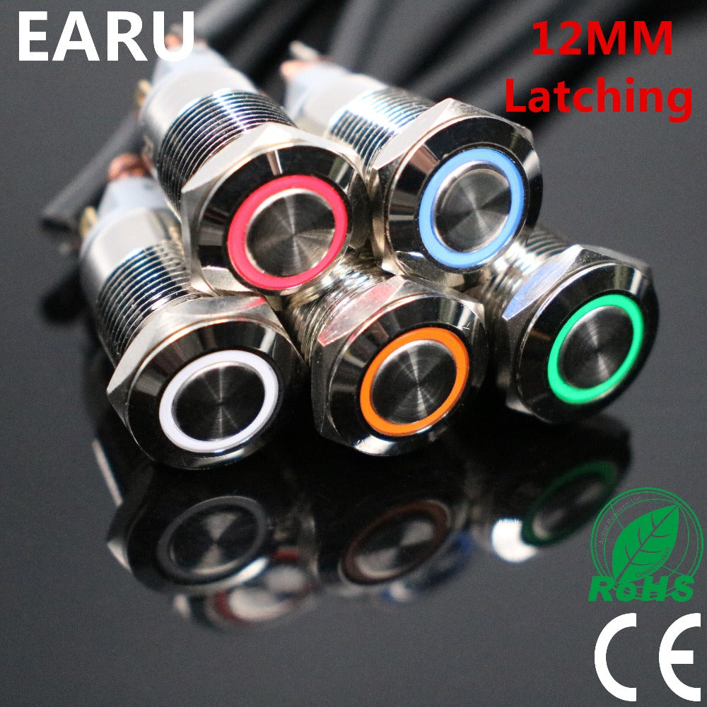 12mm Latching Stainless Steel Button Switch with LED