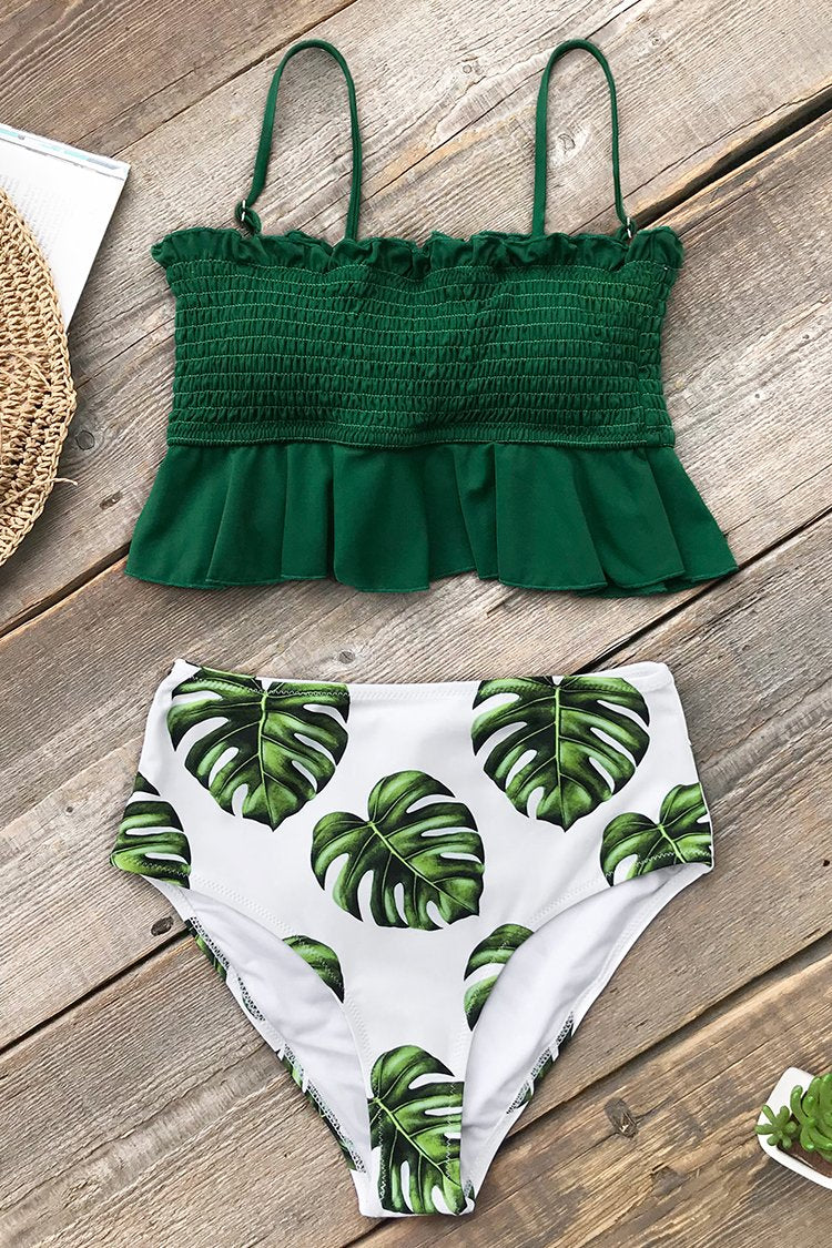 Smocked Grün und Monstera High-Waist Bikini