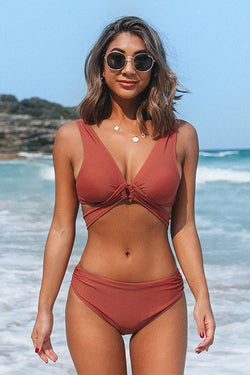 Stilvoller Bikini-Set mit O-Ring in rot Cupshe
