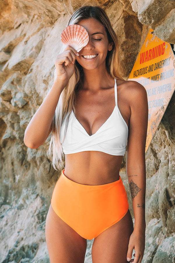 Bikini-Hose mit High Waist in Orange