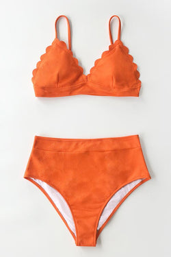 Scallop orange High-Waist Bikini