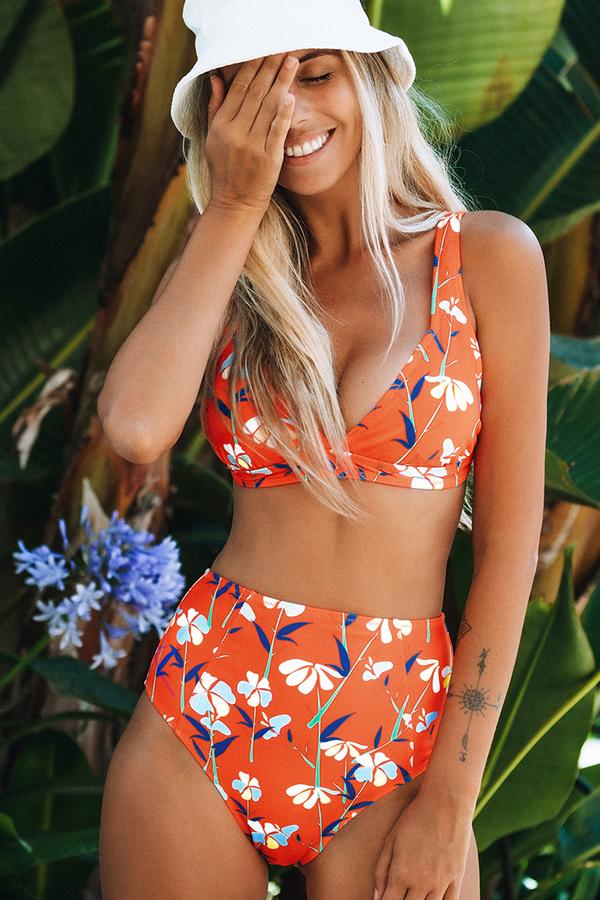 Orange floraler High-Waisted Bikini