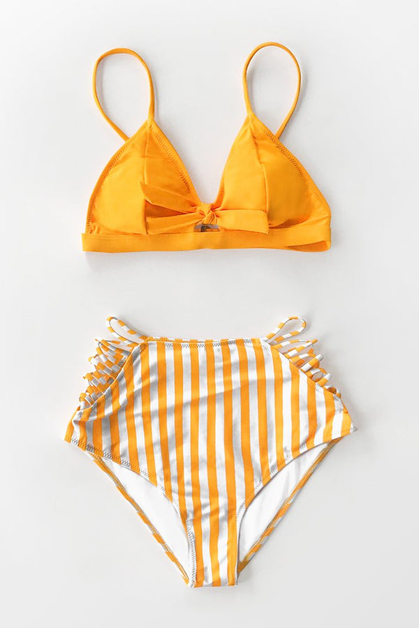 Orange und Riemchen High-Waisted Bikini