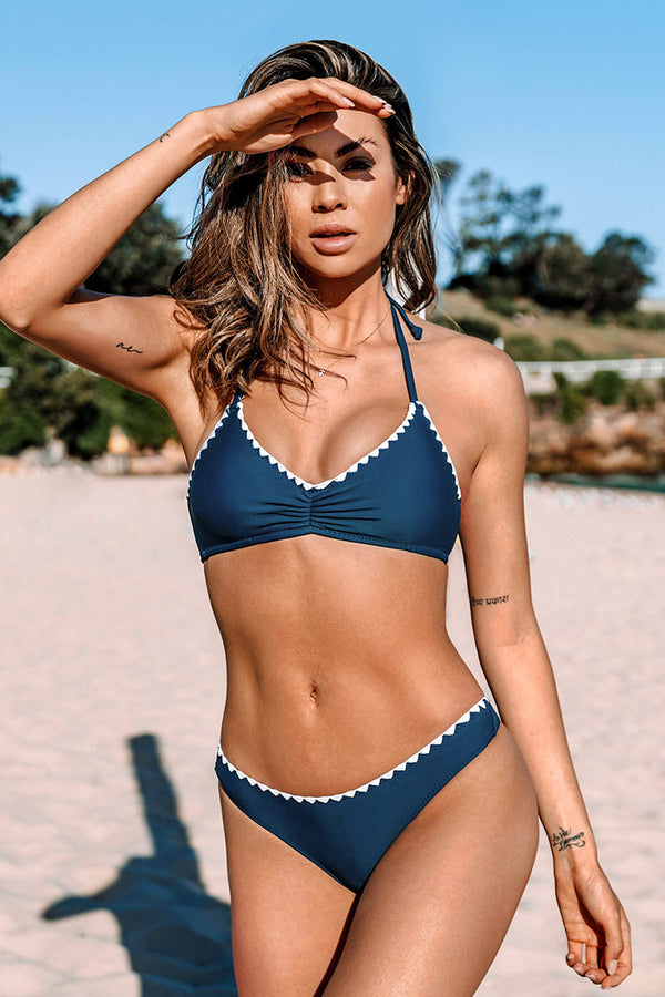 Neckholder Bikini-Set in Marinenblau