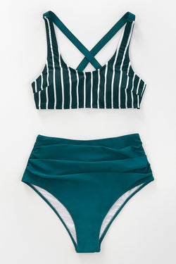 Bikini-Set mit High Waist in Dunkelgrün Cupshe