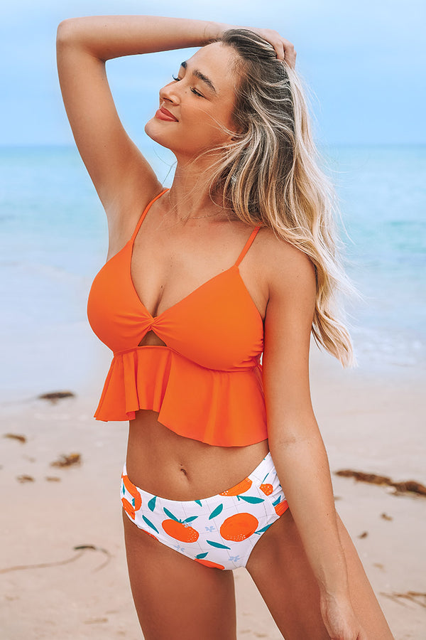 Tankini mit Twist in Orange Cupshe