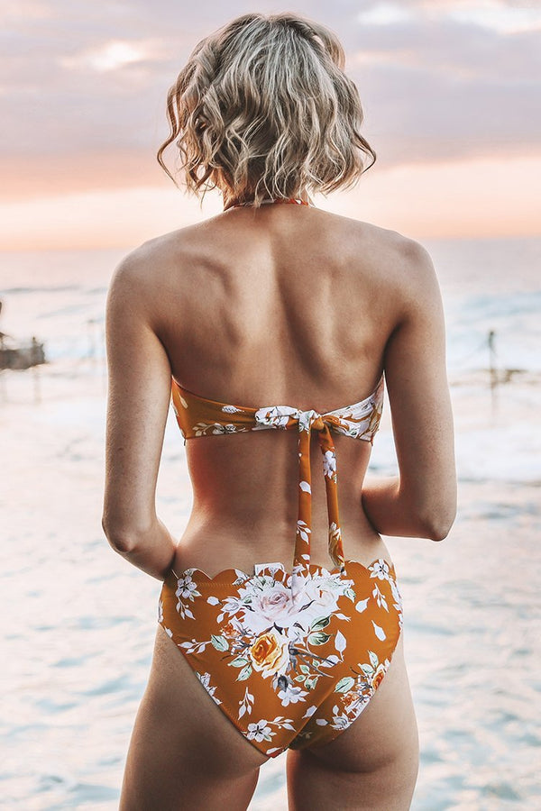 Orange Floral Fächerförmig Bikini