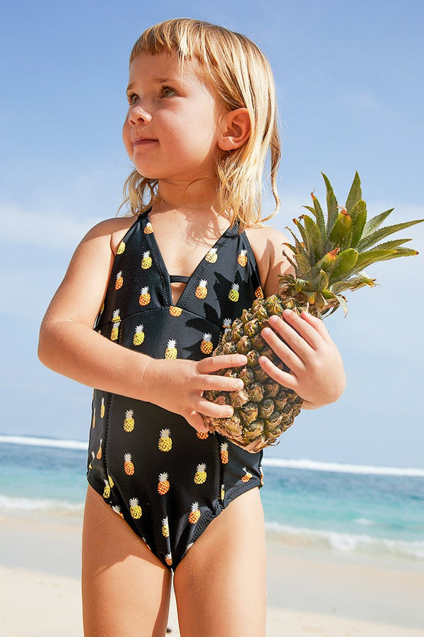 Toddler girl and girl Black Pineapple Printed One-piece Swimsuit