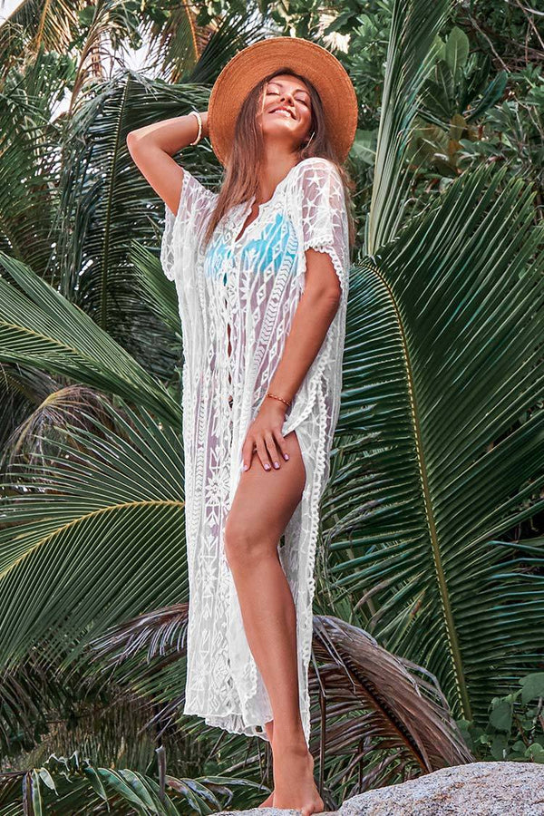 Weißer Stern Maxi Cover Up cupshe Cover Up