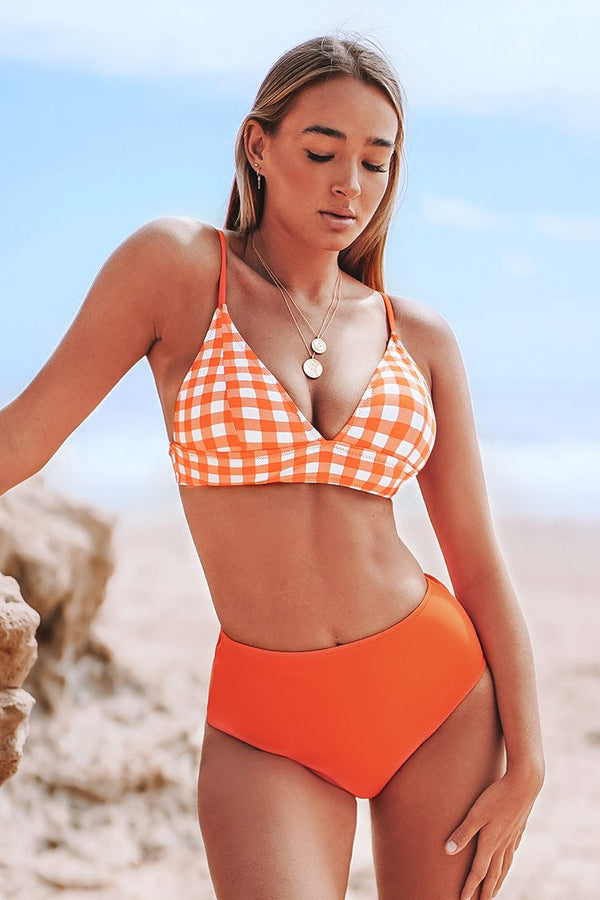 Orange Gingham Bikini cupshe  Bikini