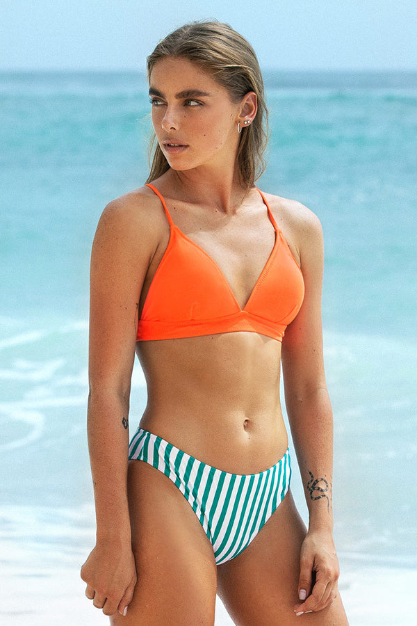 Gestreifter Bikini-Set mit Riemchen in Orange Cupshe