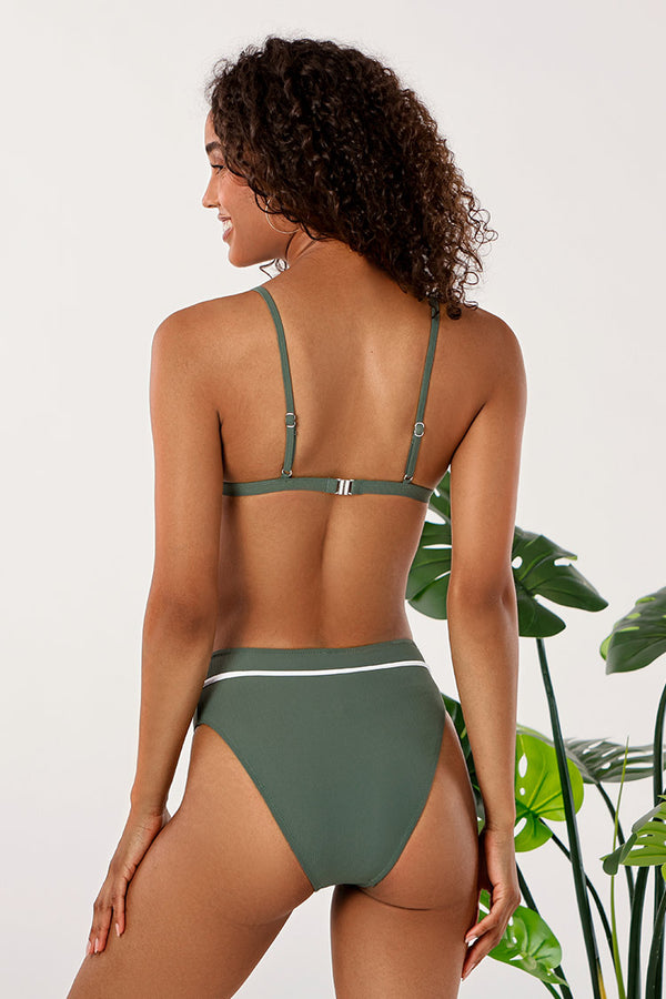 Bikini-Set mit High Waist in grün Cupshe