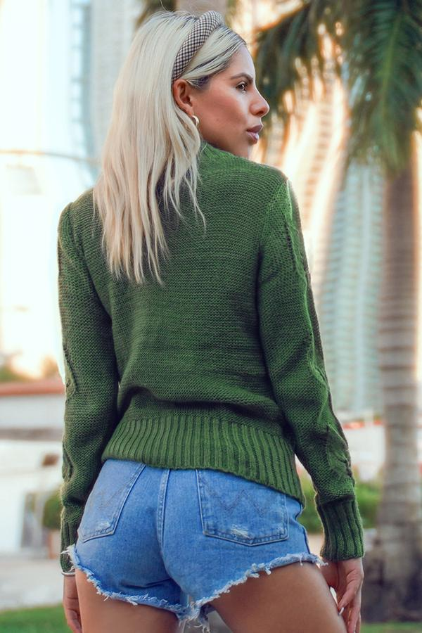 Grüne belaubte Drop Stitch Sweater