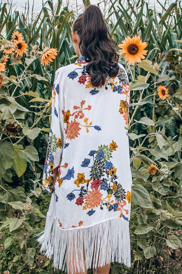 Boho Blumendruck Fransen Cover Up