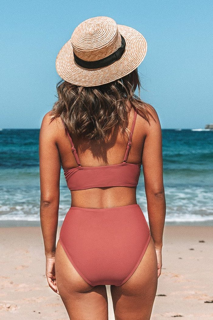 Roter Twist High-Waist Bikini