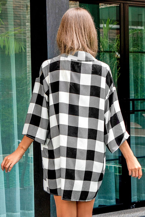 Schwarzweiss Gingham Print Cover Up