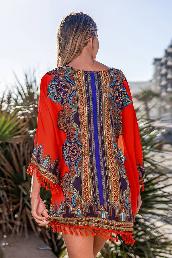 Orange Boho Cover Up Mit Quasten cupshe Cover Up